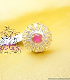 Buy Ruby American Diamond Adjustable Cocktail Ring Ring online
