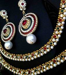 Buy Indian Combo 19 : Maroon green pearl payal anklet & Meenakari earring cb19 anklet online