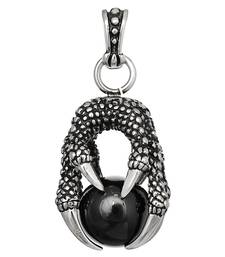 Buy Pendant for Men Boys Silver Stainless Steel Dragon Crystal Ball Black men-pendant online