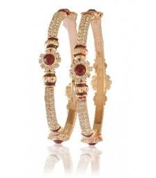Buy maroon white kundan cz gold plated bangale l1314 bangles-and-bracelet online