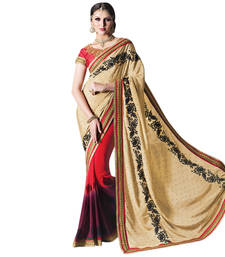 Buy Cream embroidered chiffon saree with blouse chiffon-saree online