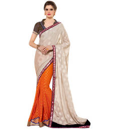 Buy Cream embroidered satin saree with blouse satin-saree online