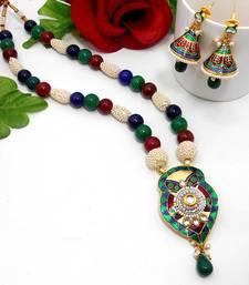Buy Meenakari Leafy Drop Necklace Green Blue Maroon Necklace online