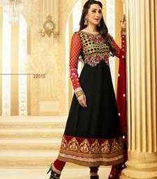Feminine Karishma Kapoor Black Georgette Anarkali Suit With Long Sleeves