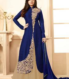Buy Dark blue silk embroidered semi stitiched salwar with dupatta pakistani-salwar-kameez online