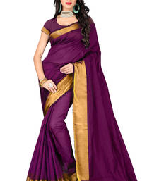 Buy Purple printed cotton saree with blouse art-silk-saree online