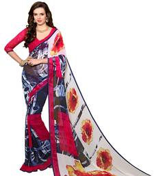 Buy Purple printed faux georgette saree with blouse printed-saree online