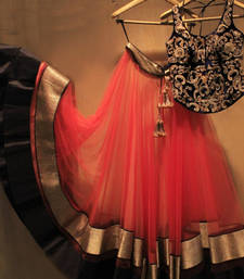 Buy Red embroidered net unstitched lehenga ghagra-choli online