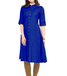 Buy latest long blue color plain cotton fabric kurta cotton-kurti online