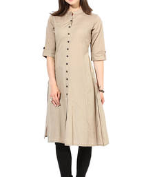 Buy latest long khakhi color plain cotton fabric kurta cotton-kurti online