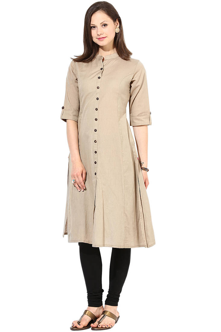 Buy Latest Long Khakhi Color Plain Cotton Fabric Kurta Online