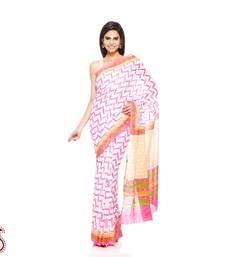 Buy Rose Pink, Orange Block Print Pure Cotton Saree cotton-saree online