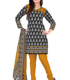 Buy black embroidered faux crepe salwar with dupatta salwars-and-churidar online