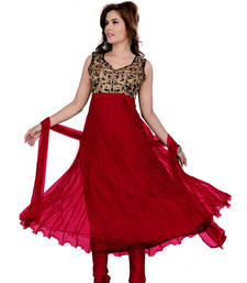 Buy Red dori embroidery georgette semi stitched salwar with dupatta salwars-and-churidar online