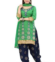 Buy Green embroidered geprgette semi stitched salwar with dupatta patiala-salwar online