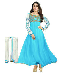 Buy Multicolor dori embroidery georgette semi stitched salwar with dupatta salwars-and-churidar online