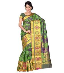 Buy Green woven art silk saree with blouse art-silk-saree online