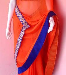 Buy Orange Cocktail saree shimmer-saree online