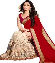 Buy Red and cream saree embroidered georgette saree with blouse diwali-discount-offer online