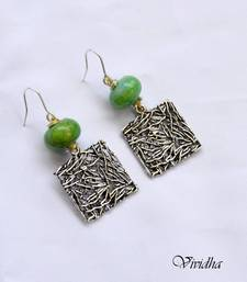 Buy Silver Danglers with Green Beads danglers-drop online
