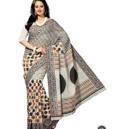 Buy Aria cream polka dot cotton printed saree ks302 cotton-saree online