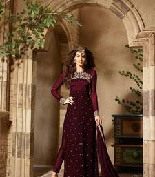 Buy Maroon Georgette Enbroidered semi stitiched salwar with dupatta anarkali-salwar-kameez online