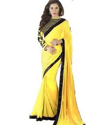 Buy Yellow embroidered georgette saree with blouse ethnic-saree online