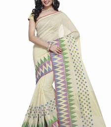 Cream Cotton Handloom Traditional Saree shop online