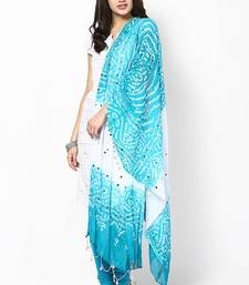 Buy Amazing Green White Cotton Bandhej Dupatta stole-and-dupatta online
