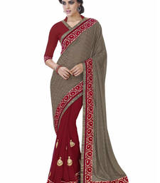 Buy Brown embroidered jacquard saree with blouse jacquard-saree online