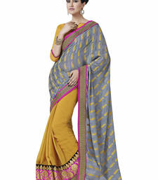 Buy Grey embroidered jacquard saree with blouse jacquard-saree online
