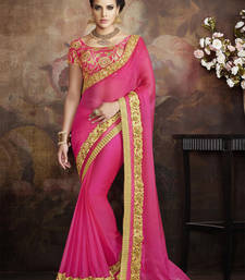Buy Dark baby pink embroidered pure chiffon saree with blouse eid-saree online