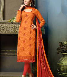 Buy Orange embroidered jacquard unstitched salwar with dupatta dress-material online