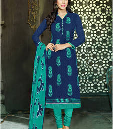 Buy Navy blue embroidered jacquard unstitched salwar with dupatta dress-material online