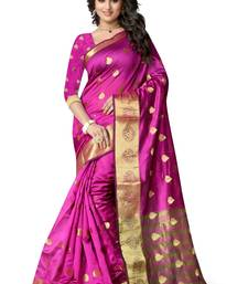 Buy Pink hand woven cotton silk saree with blouse tussar-silk-saree online