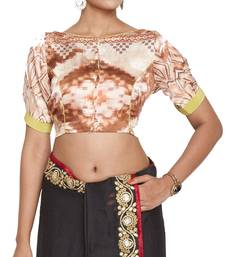 Buy Peach multicolor pure crepe readymade blouse readymade-blouse online