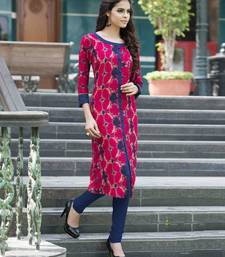 Buy Pink printed cotton party wear kurtis eid-kurti online