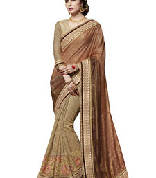 Buy brown and beige embroidered Silk saree with blouse silk-saree online