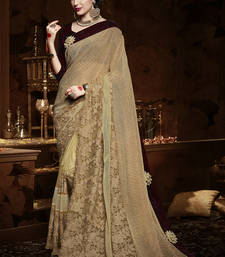Buy Beige embroidered net saree with blouse heavy-work-saree online