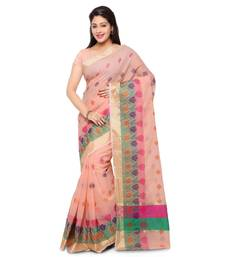 Buy Peach embroidered kota silk saree with blouse kota-silk-saree online