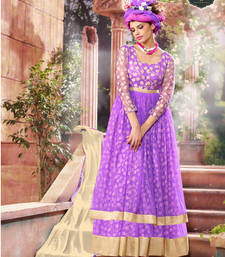 Buy Purple brasso printed unstitched salwar with dupatta dress-material online