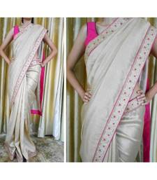 Buy Gold jute silk saree with Lucknowi border jute-saree online