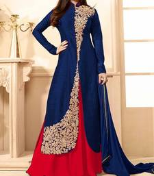 Buy Blue embroidered geprgette semi stitched kameez with pakistani lehenga pakistani-salwar-kameez online