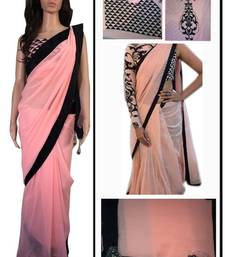 Buy Sonam Kapoor Designer Peach And Black Sari sonam-kapoor-saree online