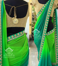 Buy Green embroidered georgette saree with blouse party-wear-saree online