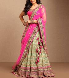 Buy Light green embroidered net unstitched lehenga bridal-lehenga online