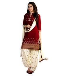Buy Maroon embroidered cotton semi stitched salwar with dupatta patiala-salwar online