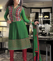 Buy Hypnotex Green Faux Georgette Dress Materials dress-material online