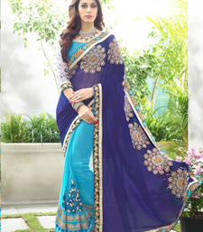 Buy Multicolor embroidered faux georgette saree with blouse georgette-saree online