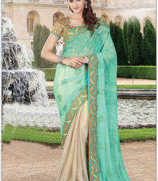 Buy Light green embroidered georgette saree with blouse one-minute-saree online